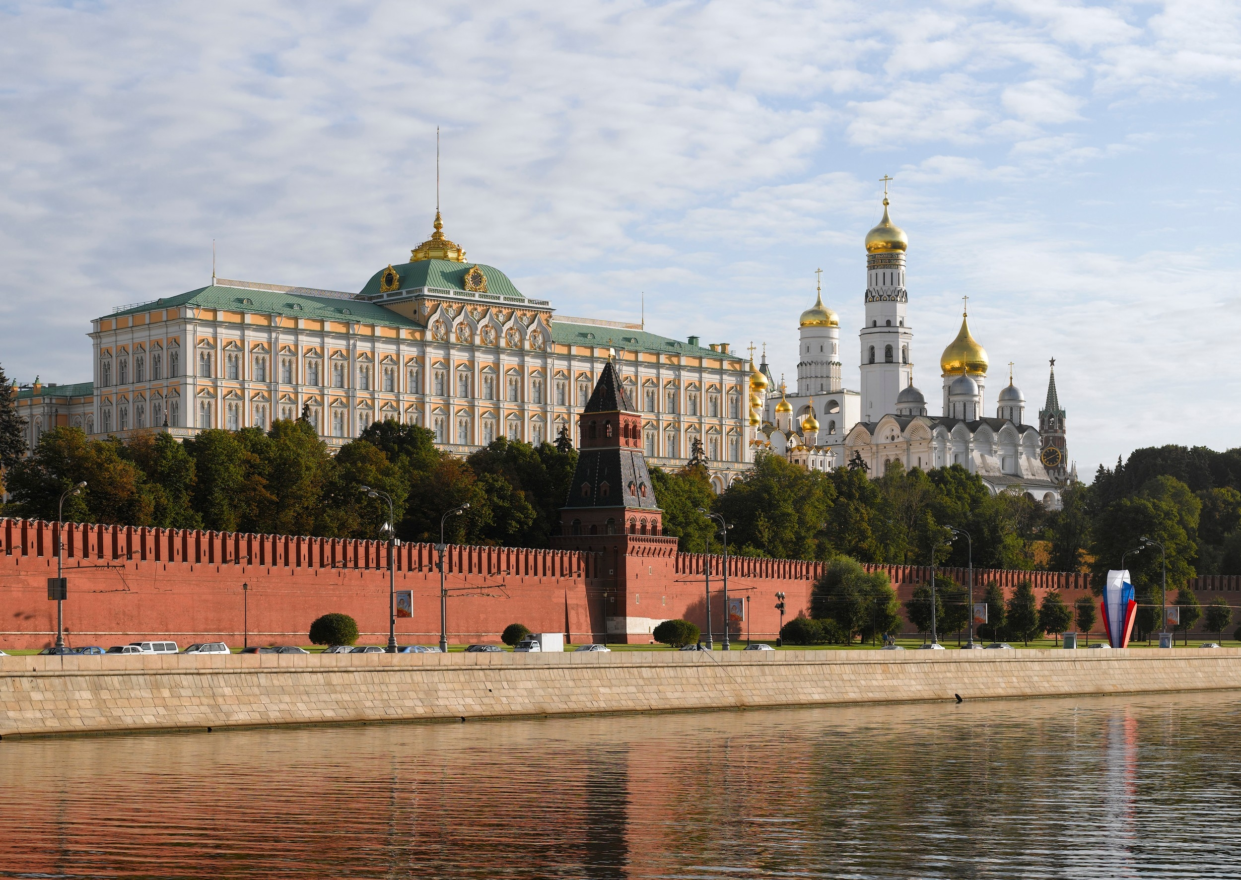 View of the Kremlin from the Moskva River, Moscow, Russia.